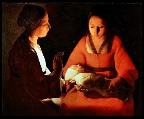 """Georges La Tour (1593-1652): """"El recién nacido"""" es una delicada escena tratada con cambios de luz que producen un clima intimista y extático. El bebé neonato, que aparece fajado, introduce ternura en ese clima. La forma y el color son trabajados técnica y figurativamente para producir un emotivo impacto psicológico. Con el claroscuro logra calidez en los volúmenes e intensidad en los colores."""