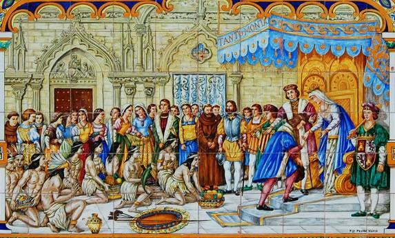 Los Reyes Católicos, Isabel y Fernando, reciben a Cristóbal Colón tras su viaje a las Indias. Hecho inmortalizado en los azulejos de la plaza de España de Sevilla.