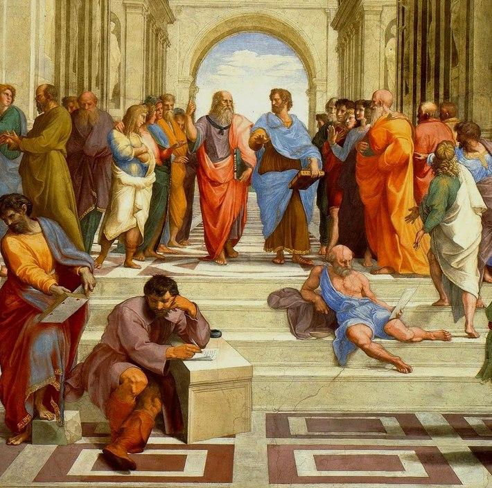 """Rafael Sanzio: """"La Escuela de Atenas"""" (1510-1511). La escena representa la Filosofía y  la disputa entre los filósofos clásicos. En la parte superior central está Platón, con manto rojo, que sostiene su Timeo, señalando al cielo; a su lado, con manto azul, está Aristóteles, que sostiene su Ética, señalando a la tierra. Todos debaten sobre la búsqueda de la Verdad, clave de la admiración. También han sido identificados otros pensadores, como Sócrates, Epicuro, Plotino, etc."""